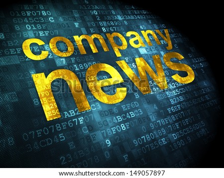 News concept: pixelated words Company News on digital background, 3d render - stock photo