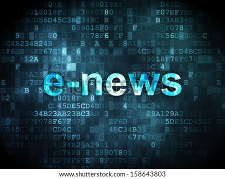 News concept: pixelated words E-news on digital background, 3d render - stock photo