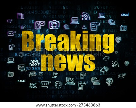 News concept: Pixelated yellow text Breaking News on Digital background with  Hand Drawn News Icons, 3d render - stock photo