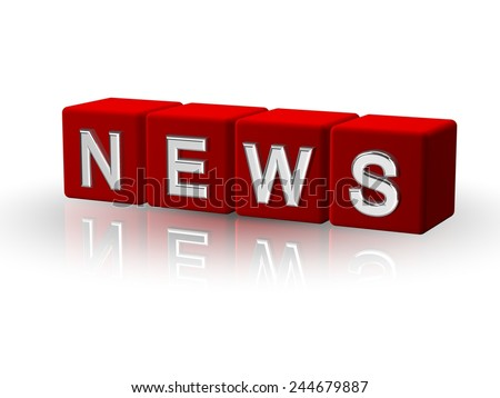 NEWS 3D cube red - stock photo