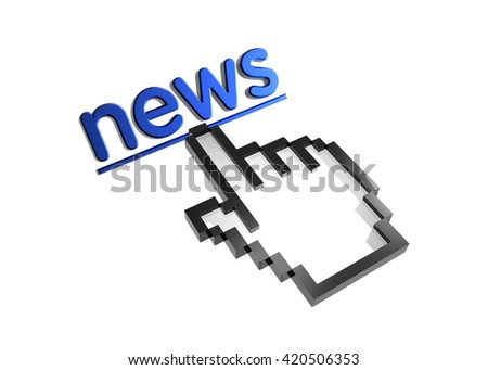 news. 3d rendered inscription. Link and finger, pointer. Isolated on white - stock photo