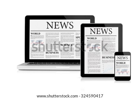 News feed on mobile devices - stock photo