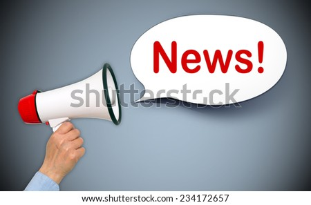 News ! Female hand with megaphone and speech bubble - stock photo