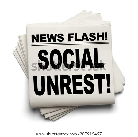 News Flash Social Unrest News Paper Isolated on White Background. - stock photo
