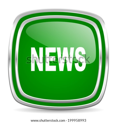 news glossy computer icon on white background - stock photo
