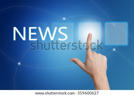 News - hand pressing button on interface with blue background. - stock photo
