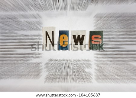 news information in newspaper abstract - stock photo