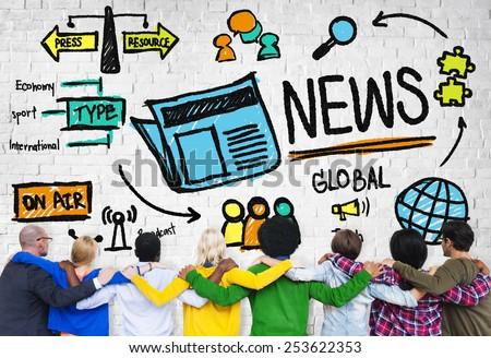 News Journalism Information Publication Update Media Advertisement Concept - stock photo