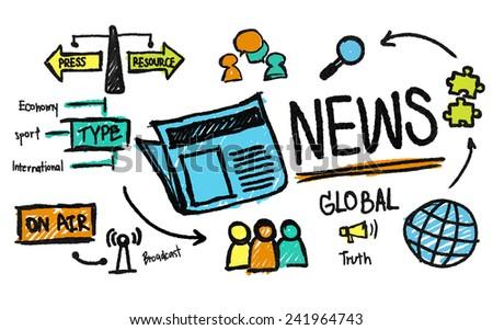 News Journalism Information Publication Update Media Advertisment Concept - stock photo