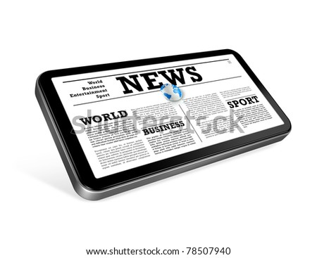 News on a mobile phone isolated on white with 2 clipping paths : one for global scene and one for the screen - stock photo