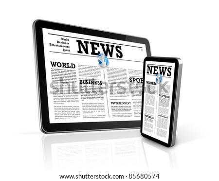 news on 3D mobile phone and digital tablet pc computer isolated on white - stock photo