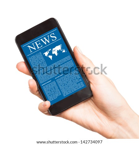News on mobile phone, smart phone. Isolated on white. - stock photo