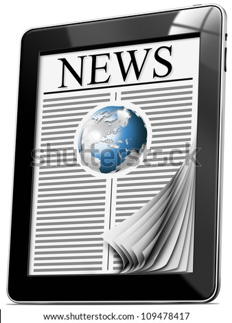 News On Tablet Pc With Pages - Black tablet computer with news on white background - stock photo