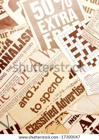 News paper text with old paper - stock photo