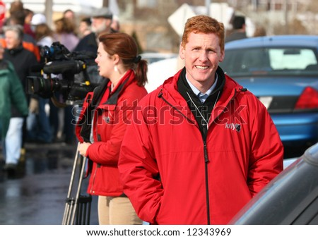 news reporters at an event - stock photo