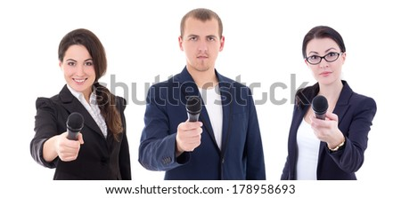 news reporters or journalists interviewing a person holding up the microphones isolated on white background - stock photo
