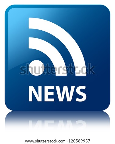 News (rss feed) glossy blue reflected square button - stock photo