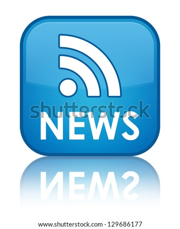 News (rss icon) glossy blue reflected square button - stock photo