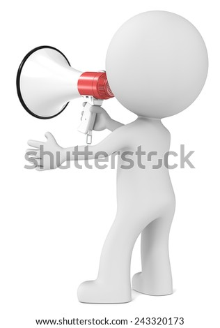 News. The dude holding Megaphone. Rear view. - stock photo