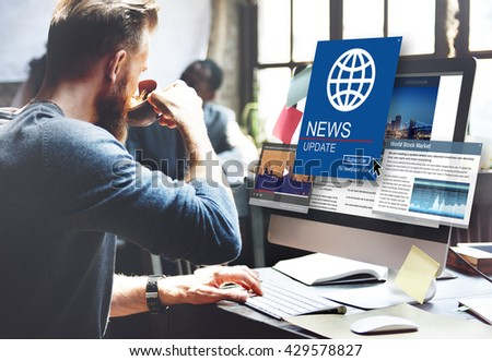 News Update Journalism Headline Media Concept - stock photo