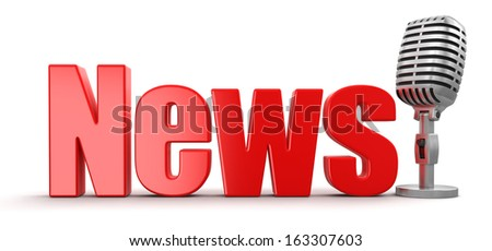 News with Microphone (clipping path included) - stock photo