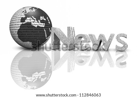 news with mirror isolated on white,3d - stock photo