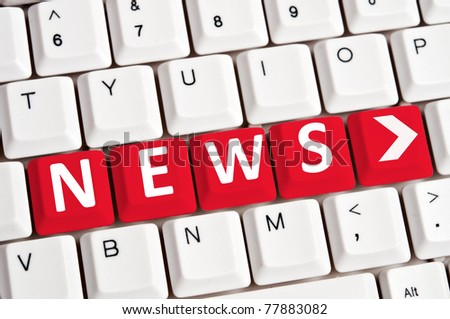 News word on white keyboard - stock photo