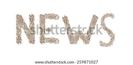 News written in letters formed with wooden cubes with letters isolated on white background - stock photo