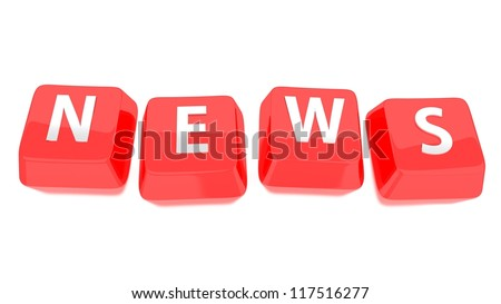 NEWS written in white on red computer keys. 3d illustration. Isolated background. - stock photo