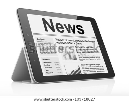 Newsletter concept: Digital news on tablet pc computer screen, 3d render - stock photo
