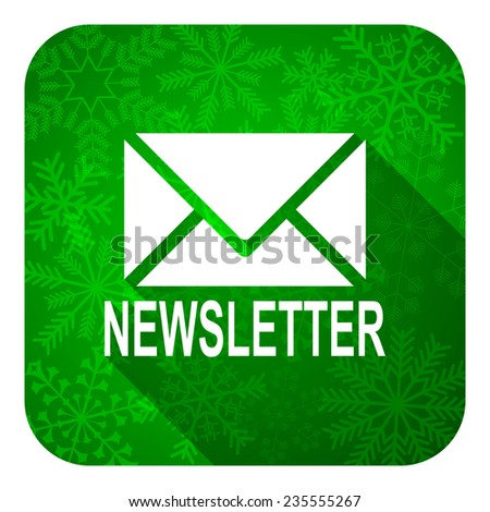 newsletter flat icon, christmas button  - stock photo