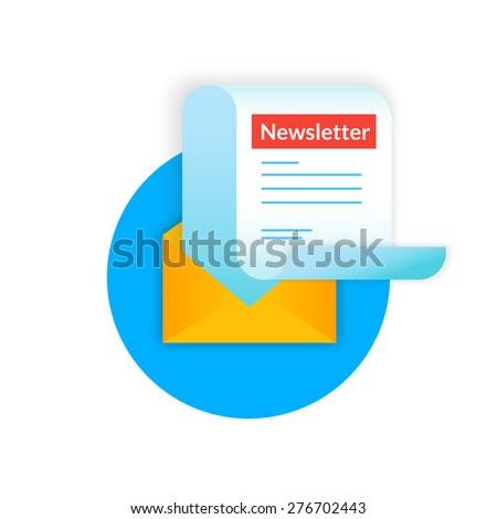 Newsletter illustration isolated on blue background - stock photo
