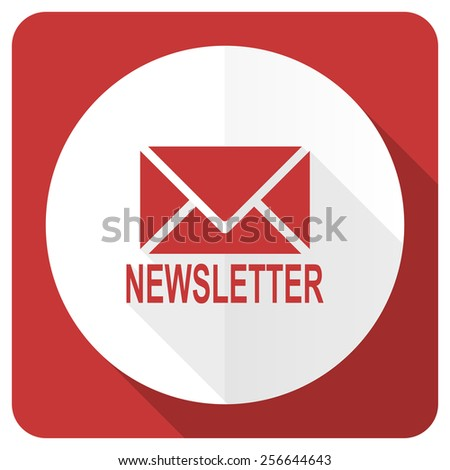 newsletter red flat icon   - stock photo