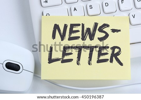 Newsletter subscribing on internet for business marketing campaign office computer keyboard - stock photo