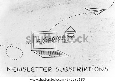 newsletter subscriptions: email envelope coming out of laptop screen with a screen - stock photo
