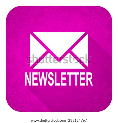 newsletter violet flat icon, christmas button  - stock photo