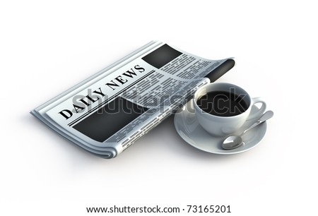 Newspaper and coffee cup - stock photo