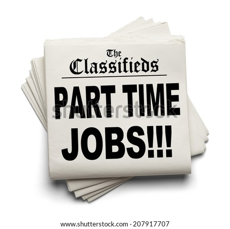 Newspaper Classifieds Part Time Jobs Headline Isolated on White Background. - stock photo