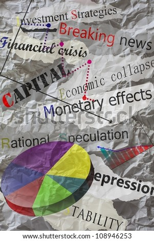 newspaper headlines with creased paper,economy - stock photo