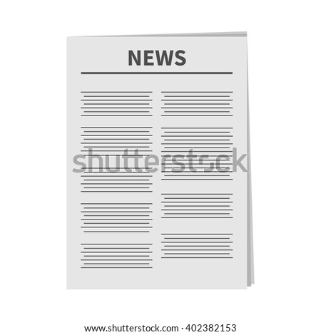 Newspaper icon Flat design Isolated White background  - stock photo