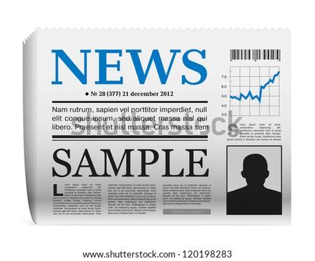 Newspaper icon on white background - stock photo