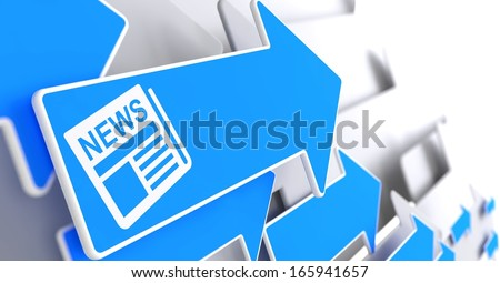Newspaper Icon with News Title - Blue Arrow on a Grey Background. Mass Media Concept. - stock photo