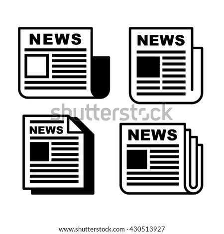 Newspaper icons set on white . illustration . - stock photo