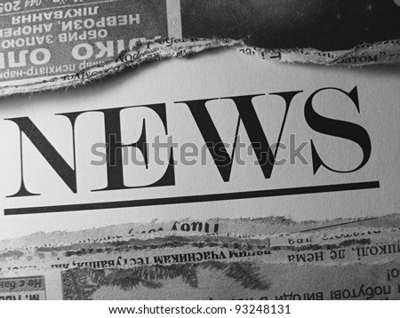 Newspaper in black and white style. - stock photo