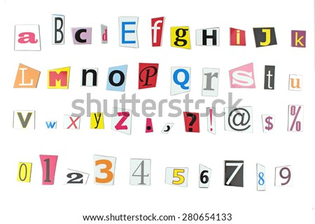 Newspaper letters, numbers and punctuation marks - stock photo