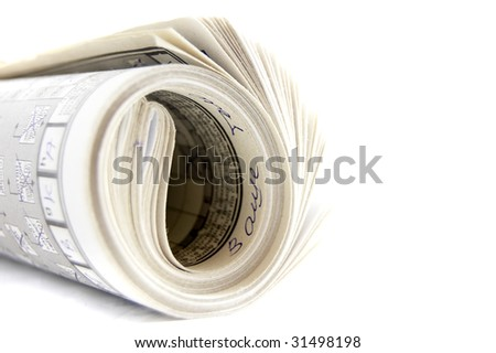 Newspaper on white - stock photo