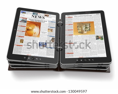 Newspaper or magazine from tablet pc. 3d - stock photo