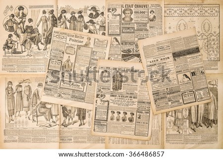 Newspaper pages with antique advertising. Fashion magazine for woman - stock photo