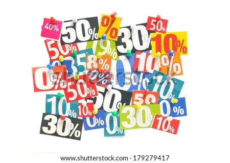 Newspaper percentage advertisements - stock photo