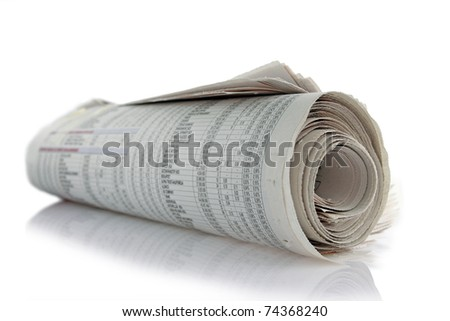 newspaper roll with reflection on white - stock photo